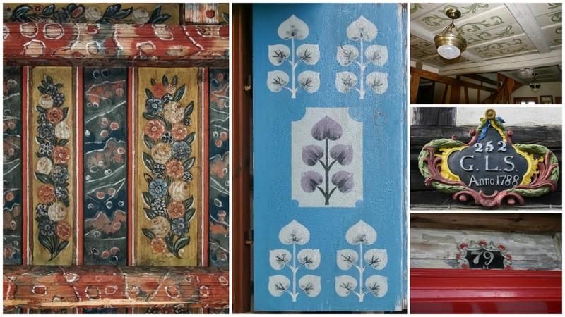 Innen: Deckenmalerei, bemalter Fensterladen und Hauszeichen, Außen: meist natürliche Holzfärbung belassen, Fachwerk hell-dunkel