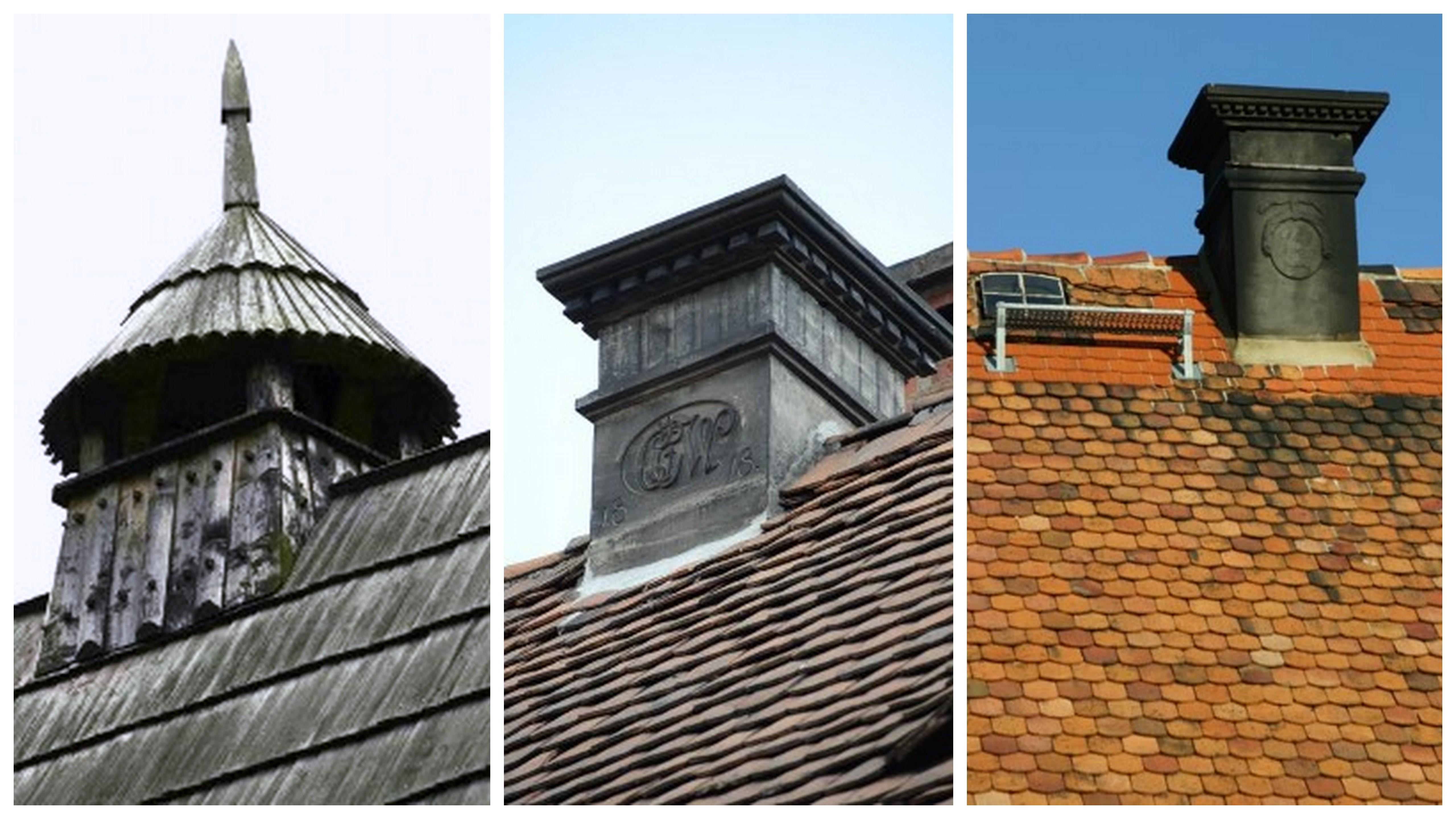 Zierschornsteine auf den Dächern der Umgebindehäuser