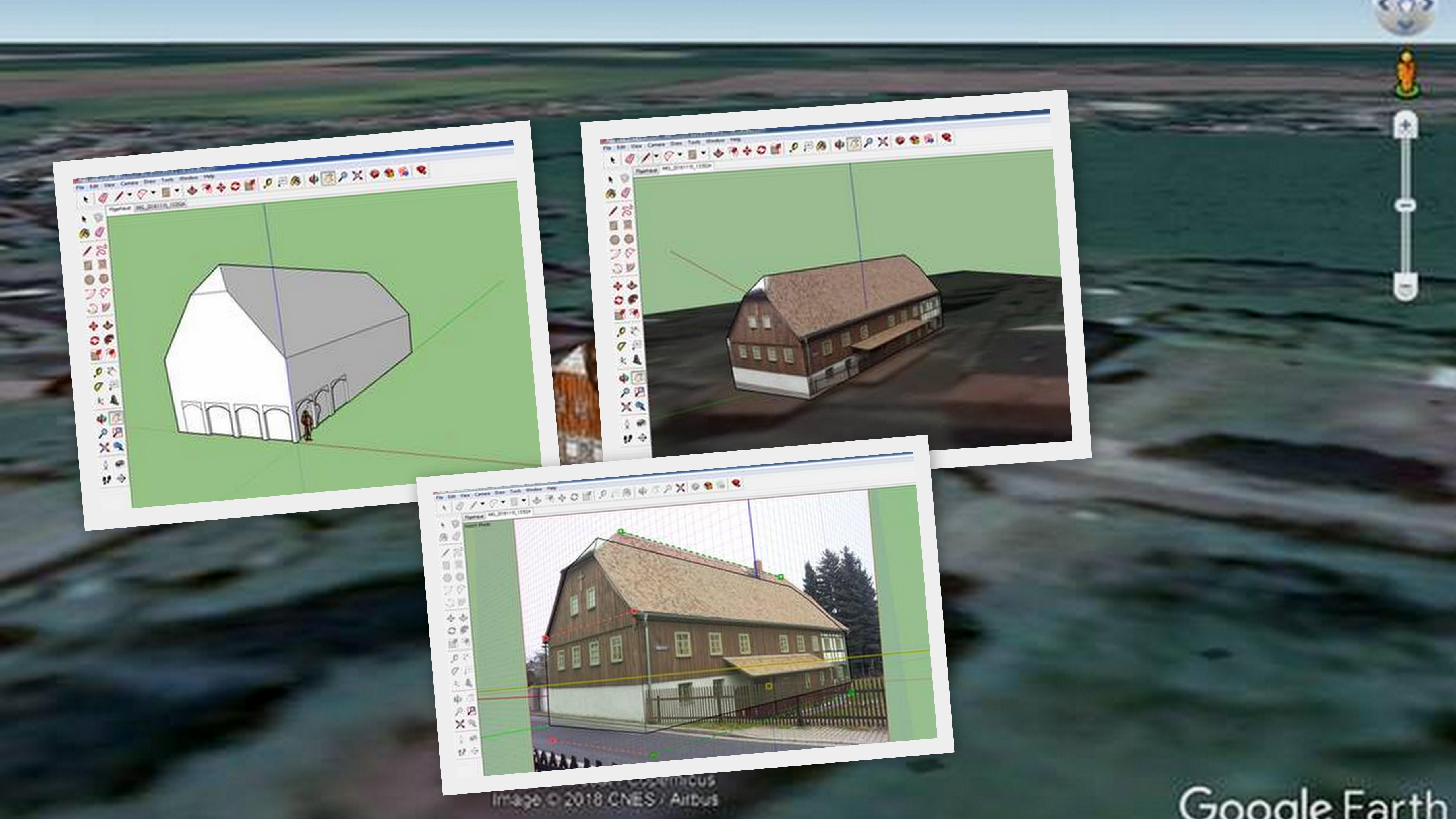 Pilgerhäusel am Computer modellieren und bei Google Earth als 3D-Objekt platzieren